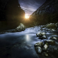Mountain River At Sunset Ritsa Nature Reserve Abkhazia Georgia