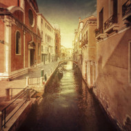 Vintage Shot of Venetian Canal Venice Italy by Evgeny Kuklev