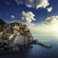 View of Manarola On The Rocks At Sunset La Spezia Liguria Northern Italy