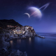 View Of Manarola On A Starry Night With Planets Northern Italy