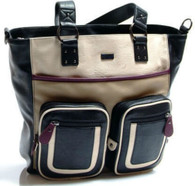 GR8X 'KATE' Tote - Black / Cream with Burgundy Trim