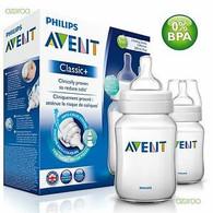 Avent 260ml 2-pack 'Natural' Feeding Bottle 1m+