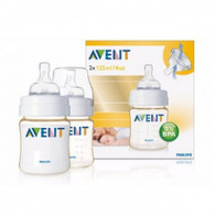 Avent Twin Pack 125ml 'Gold' Feeding Bottles - 0m+