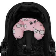Outlook Head Hugger - Pink with white bows. + toystrap
