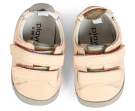 Playette Leather Baby Shoe / Double Velcro Strap  / First Walkers- Bella  Pink