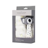 The Little Linen Company - Muslin Wrap & Crinkle Toy - Silver Koala