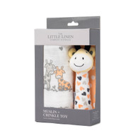 The Little Linen Company - Muslin Wrap & Crinkle Toy -  Orange Giraffe