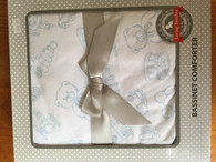 Living Textiles - Jersey Bassinet Comforter - White with blue print