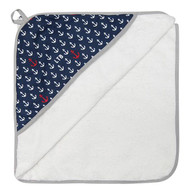 Little Turtle Baby Hooded Towel - ANCHORS (Navy, Red, Grey, White)
