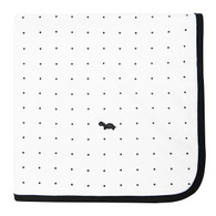 Little Turtle Baby Wrap - Stretch Cotton Jersey: WHITE WITH BLACK DOTS