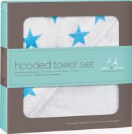 aden + anais hooded towel + washcloth set - Fluro Blue