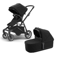 Thule Sleek Stroller + Bassinet- Black on Black