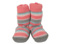 Playette Sock/ Slipper/ Toddler / Strippy Pink, Blue Grey
