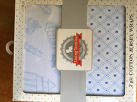 Living Textiles - 2 pack Jersey wrap- White with blue print