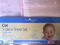 Living Textiles Cotton Sheet Set - Cot - PINK