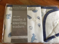 Little Linen Company Muslin & towling washer set of 3