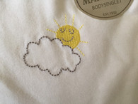 Marquise 2 pack body singlet.SIZE 0. 1x White, 1x white with embroidered Sunshine
