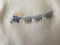 Marquise 3 pack singlets. SIZE: 00. 1x blue, 1x white 1x embroidered Trains