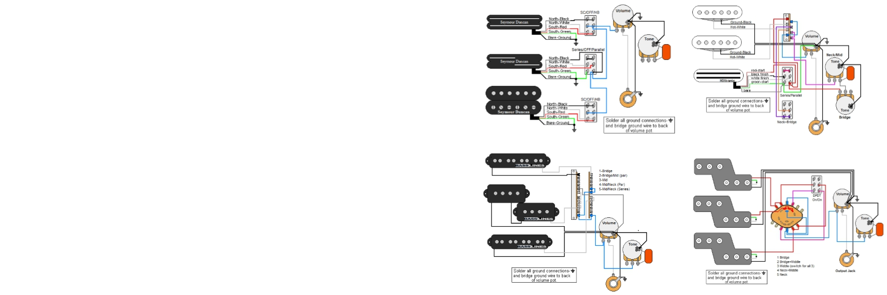 Guitar Wiring Parts Everything About Diagram Harness Pickup 1v2t 5 Way Switch 500k Pots For Fender Strat Electronics Diagrams Guitarelectronics Com Rh