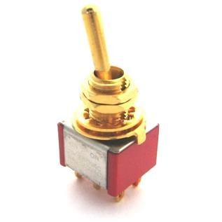 Double Pole ON/ON Bat Handle Mini Switch - Gold