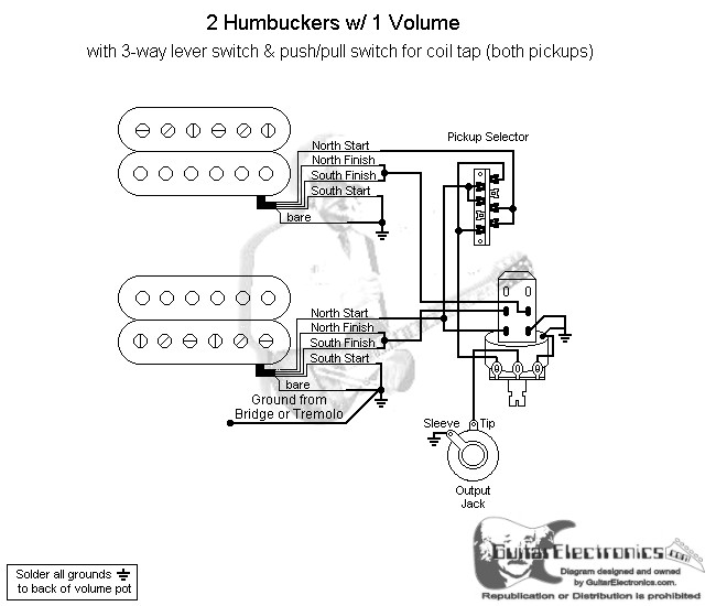 2 humbuckers 3 way lever switch 1 volume coil tap Push Pull Pot Wiring click to enlarge