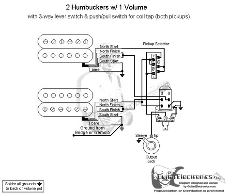 2 humbuckers 3 way lever switch 1 volume coil tap. Black Bedroom Furniture Sets. Home Design Ideas