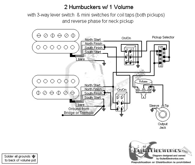 2 humbuckers 3 way lever switch 1 volume coil tap reverse phase. Black Bedroom Furniture Sets. Home Design Ideas