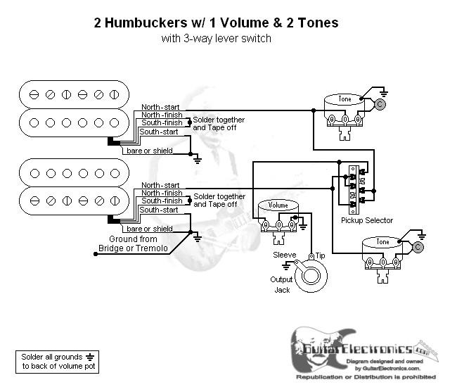 2 humbuckers 3 way lever switch 1 volume 2 tonesGuitar Wiring Diagram Active 1 Volume 2 Pickups 3 Way Switch #13