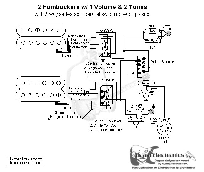 2 Humbuckers/3-Way Lever Switch/1 Volume/2 Tones/Series-Split ... on 3 way switch troubleshooting, gfci wiring diagram, 3 wire switch diagram, 3 way light switch, 3 way switch schematic, 3 way switch installation, two way switch diagram, 3 way switch lighting, 3 way switch cover, 3 way switch with dimmer, four way switch diagram, volume control wiring diagram, easy 3 way switch diagram, three way switch diagram, 3 way switch help, three switches one light diagram, circuit breaker wiring diagram, 3 way switch getting hot, 3 way switch electrical, 3 way switch wire,