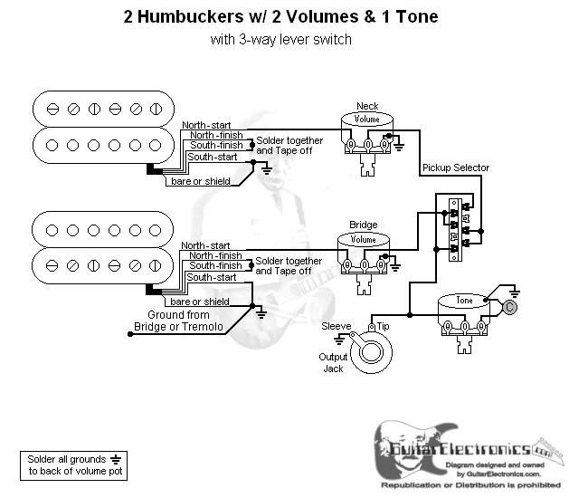 2 Humbuckers3way Lever Switch2 Volumes1 Tonerhguitarelectronics: 2 Humbucker 1 Vol Wiring Diagrams At Gmaili.net