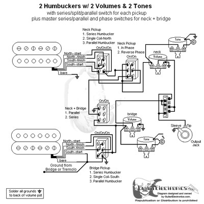 2 HBs/3-Way Lever/2 Vol/2 Tones/Series-Split-Parallel, Reverse Phase & Master Series-Parallel