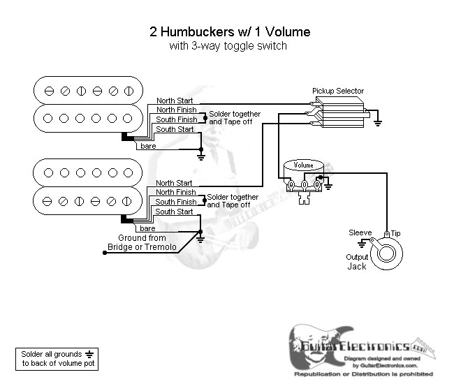 2 Humbuckers/3-Way Toggle Switch/1 Volume on triple bucker diagrams, 1 humbucker guitar wiring diagrams, coil tapping humbuckers diagrams, 3 humbucker pickup wiring with 2 volume 2 tone, 3 humbucker wiring diagram on off,