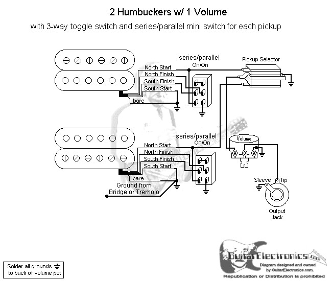 2 Humbuckers/3-Way Toggle Switch/1 Volume/Series Parallel on tele wiring diagrams, 12 volt 4 pin relay wiring diagrams, single phase motor wiring diagrams,