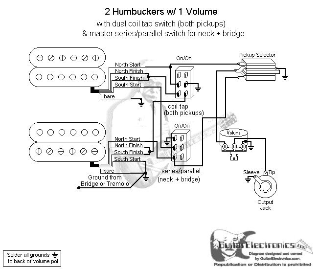 2 humbuckers 3 way toggle switch 1 volume coil tap \u0026 series Humbucker Wiring Schematics click to enlarge