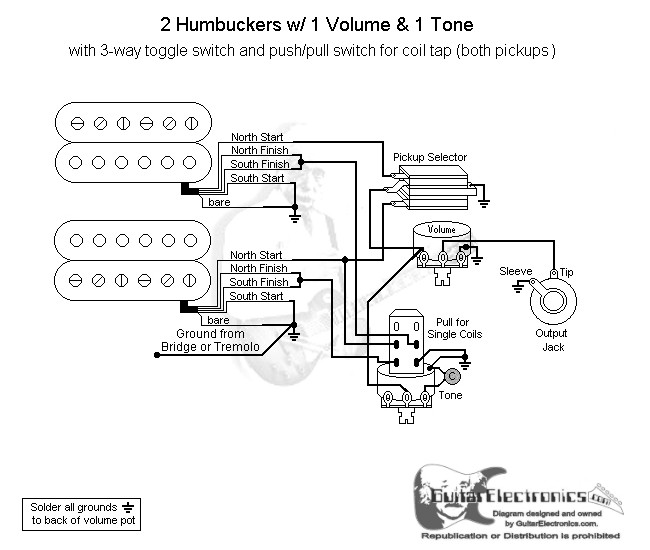 2 humbuckers 3 way toggle switch 1 volume 1 tone coil tap Guitar 3-Way Switch Diagram click to enlarge