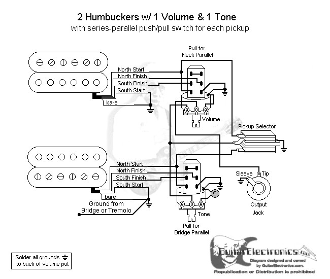 2 humbuckers 3 way toggle switch 1 volume 1 tone series parallel Push Pull Pot Wiring click to enlarge