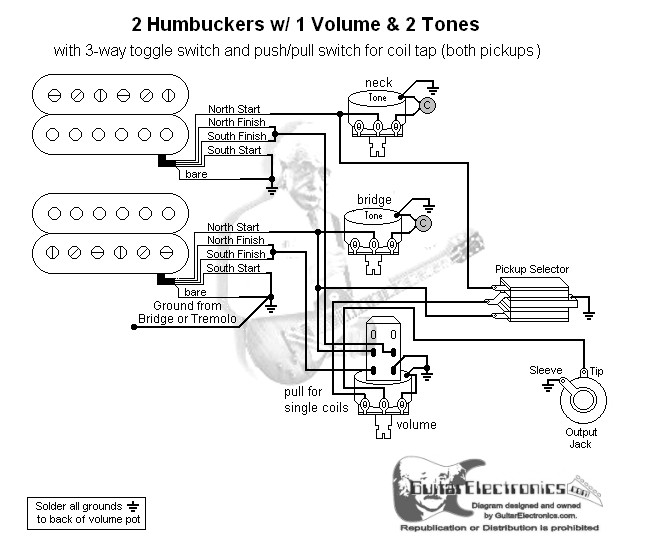 2 Humbuckers/3-Way Toggle Switch/1 Volume/2 Tones/Coil Tap on triple bucker diagrams, 1 humbucker guitar wiring diagrams, coil tapping humbuckers diagrams, 3 humbucker pickup wiring with 2 volume 2 tone, 3 humbucker wiring diagram on off,