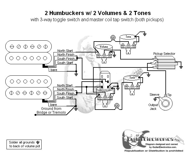 2 humbuckers 3 way toggle switch 2 volumes 2 tones coil tap. Black Bedroom Furniture Sets. Home Design Ideas
