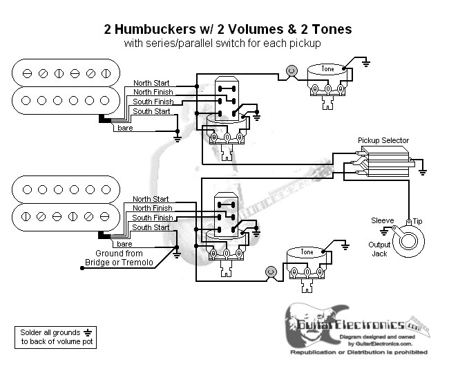 2 Humbuckers  3 2volumes  2 Tones  Series