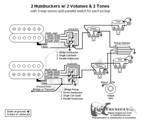 2 HBs/3-Way Toggle/2 Vol/2 Tones/Series-Split-Parallel