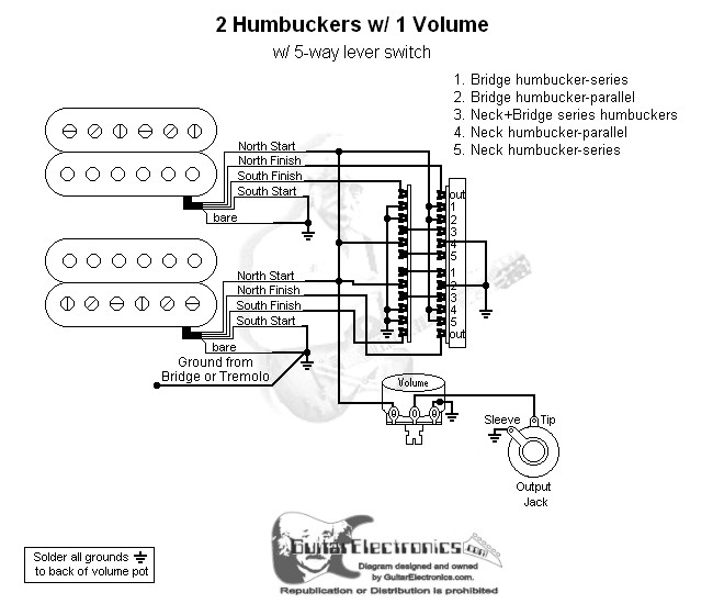 2 humbuckers 5 way lever switch 1 volume 04