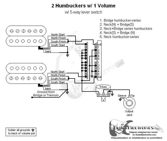 2 Humbuckers/5-Way Lever Switch/1 Volume/05 on 4-way switch diagram, 6-way light switch diagram, 5 way light diagram, two way switch diagram, 4-way light circuit diagram, 3 humbuckers with 5 way switching diagram, 5-way import switch diagram, 3 way switch diagram,