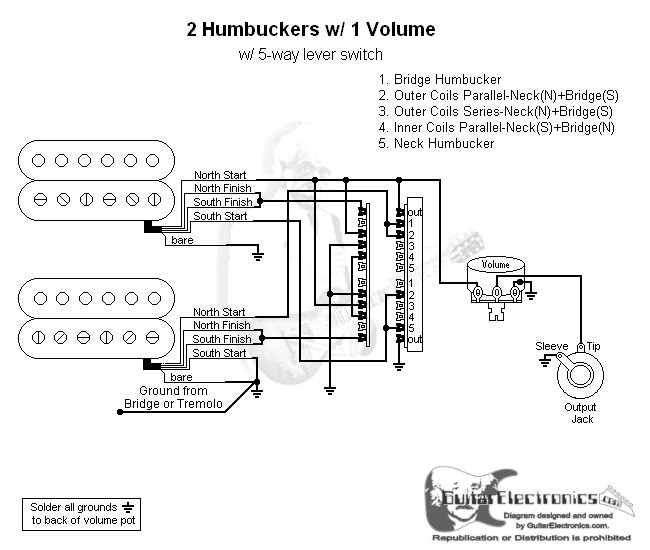2 humbuckers 5 way lever switch 1 volume 06Fender 5 Way Switch Wiring Diagram 2 Humbuckers #3