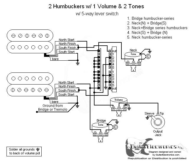 2 Humbuckers/5-Way Lever Switch/1 Volume/2 Tones/05 on 2 tone 1 volume bass diagram, humbucker pickup wiring diagram, toggle with 1 pickup wiring diagram,