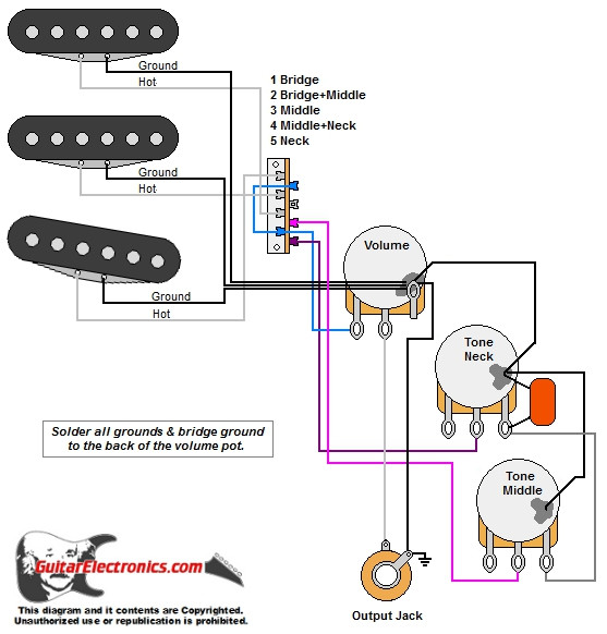 Stratocaster Style 3 Single Coils 5 Way Switch 1 Volume 2 Tone ... on toggle with 1 pickup wiring diagram, humbucker pickup wiring diagram, 2 tone 1 volume bass diagram,