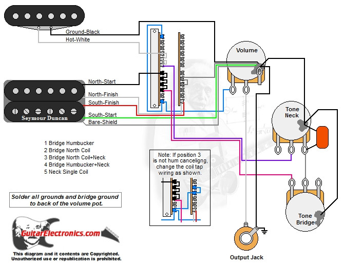 1 humbucker 1 single coil 5 way lever switch 1 volume 2 tones 01 2 Humbucker 1 Volume 1 T-One Wiring click to enlarge