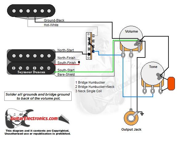 1 humbucker 1 single coil 3 way lever switch 1 volume 1 tone 00 rh guitarelectronics com guitar wiring diagrams 1 single coil pickup wiring diagram 1 humbucker 1 single coil