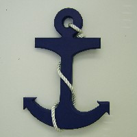 "Nautical Anchor Larger 22"" With Rope #3005 ~Navy Blue~"