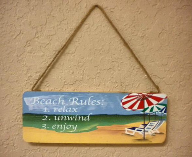 Beach Rules Wood Sign #11417 A