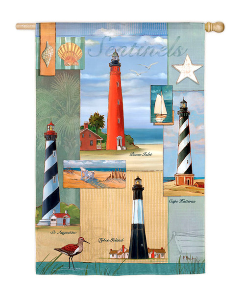 "Lighthouse flag 29"" X 43"". Tybee Island, Cape Hatteras, St. Augustine, and Ponce Inlet lighthouses. Nautical Seasons"